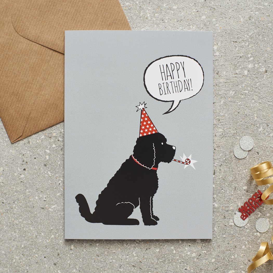 BLACK COCKAPOO / LABRADOODLE BIRTHDAY CARD , Mischievous Mutts > Greeting Cards , Cockapoo