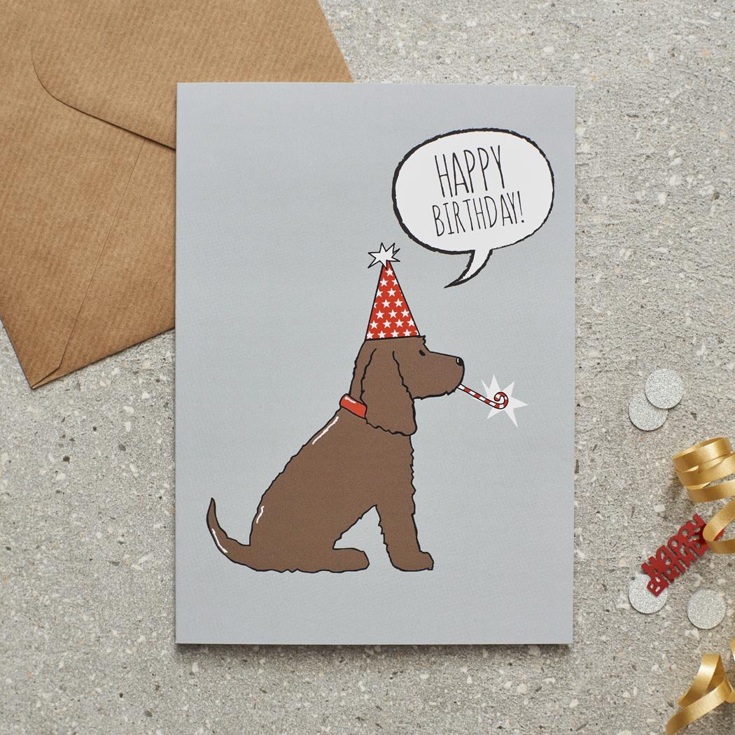 Brown Cocker Spaniel Birthday Card , Mischievous Mutts > Greeting Cards , Cocker Spaniel