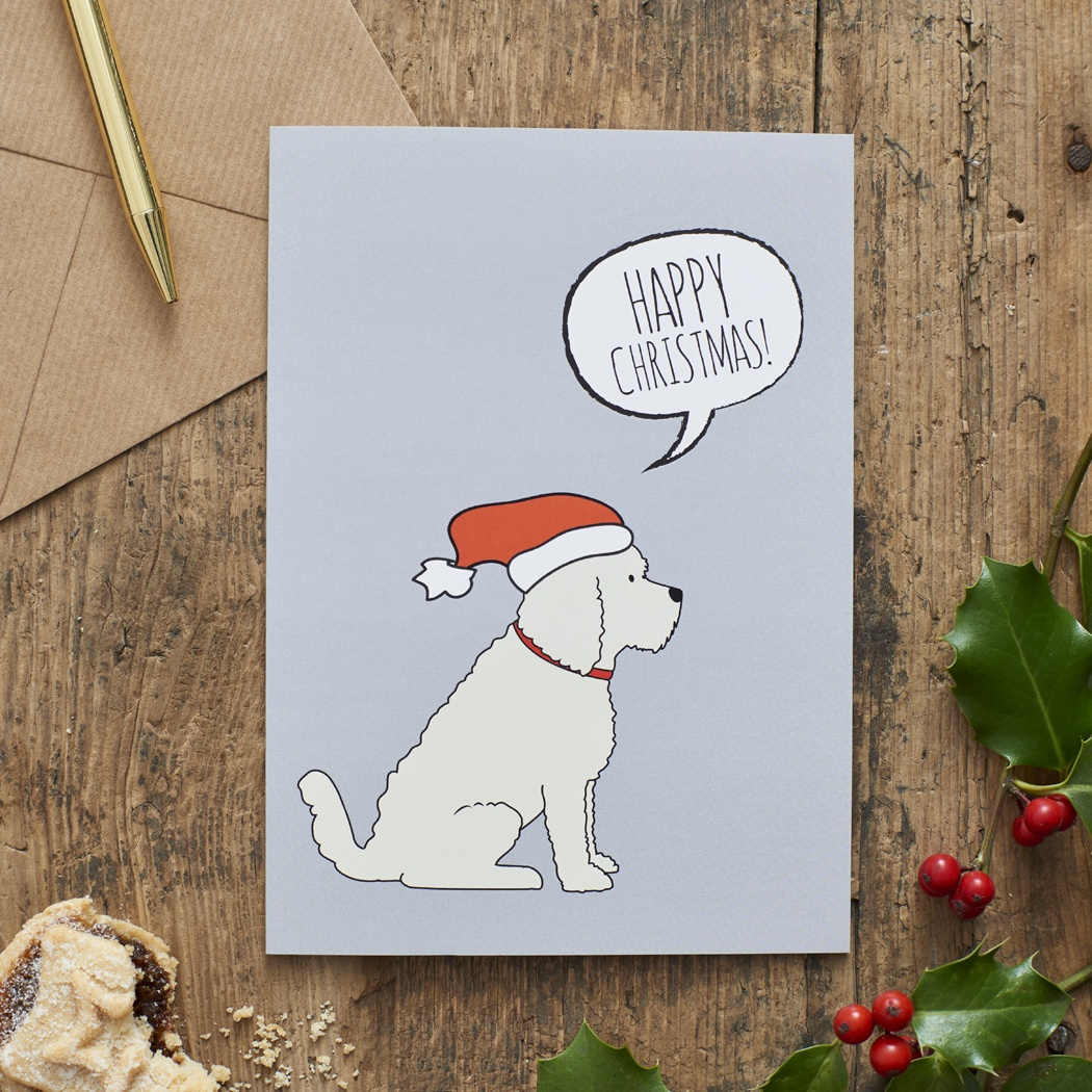 APRICOT COCKAPOO / LABRADOODLE CHRISTMAS CARD , Mischievous Mutts > Greeting Cards , Cockapoo