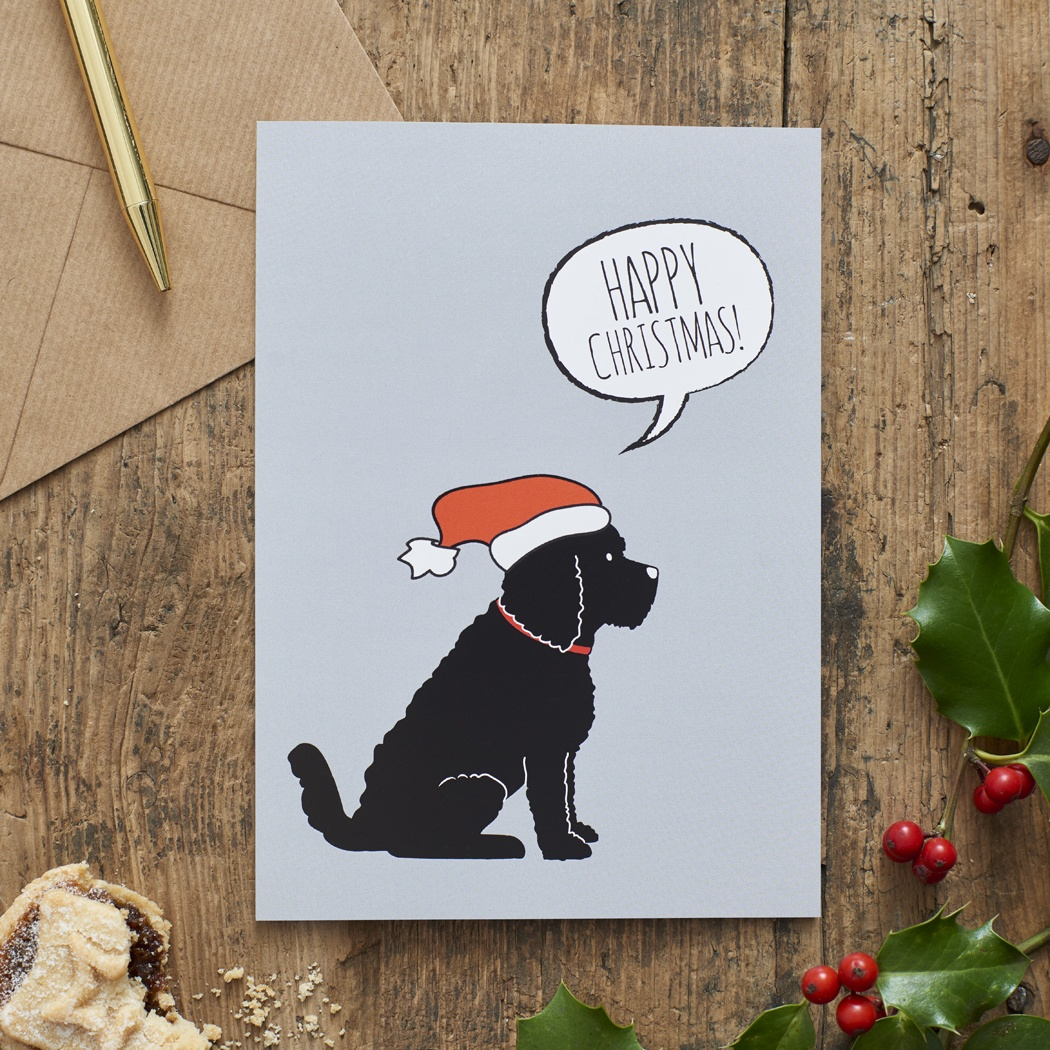 Black Cockapoo / Labradoodle Christmas Card , Mischievous Mutts > Greeting Cards , Cockapoo