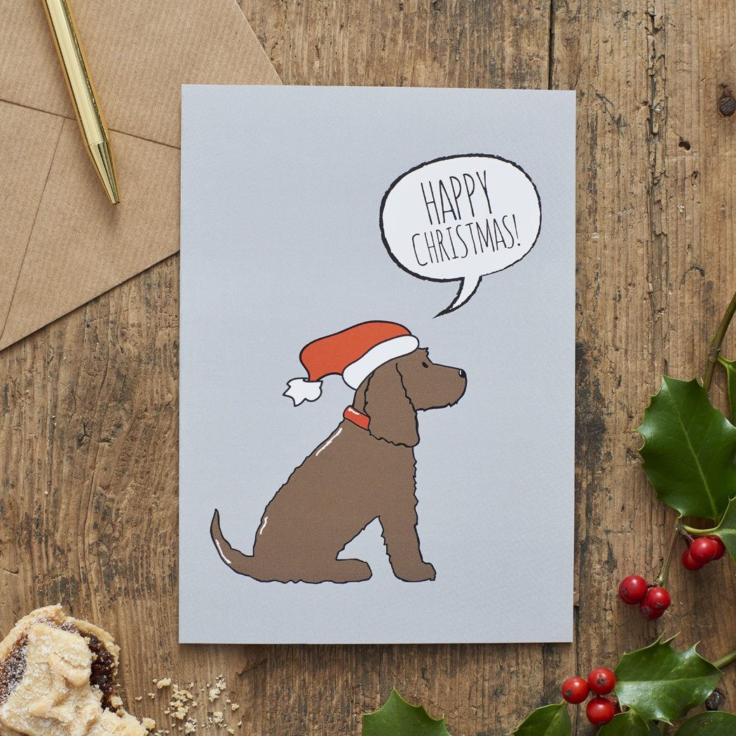 Brown Cocker Spaniel Christmas Card , Mischievous Mutts > Greeting Cards , Cocker Spaniel