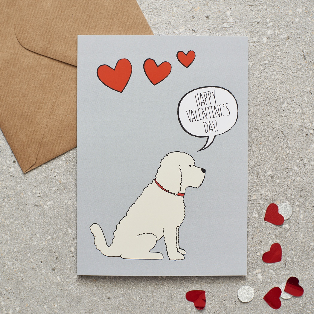COCKAPOO / LABRADOODLE (apricot) VALENTINE'S DAY CARD , Mischievous Mutts > Greeting Cards , Cockapoo