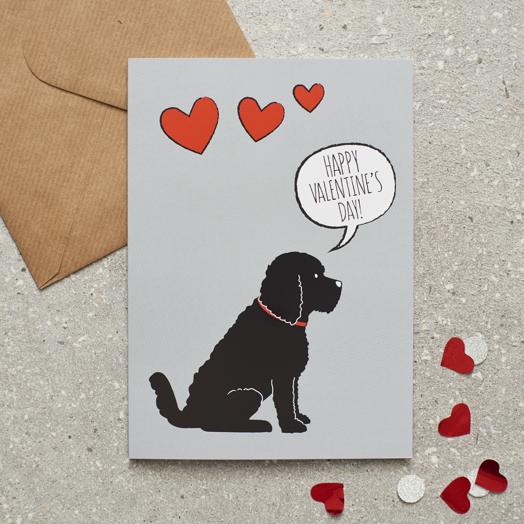 Cockapoo / Labradoodle (black) Valentine's Day Card , Mischievous Mutts > Greeting Cards , Cockapoo