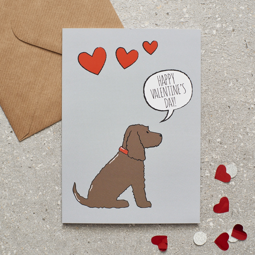 Cocker Spaniel (chocolate) Valentine's Day Card , Mischievous Mutts > Greeting Cards , Cocker Spaniel