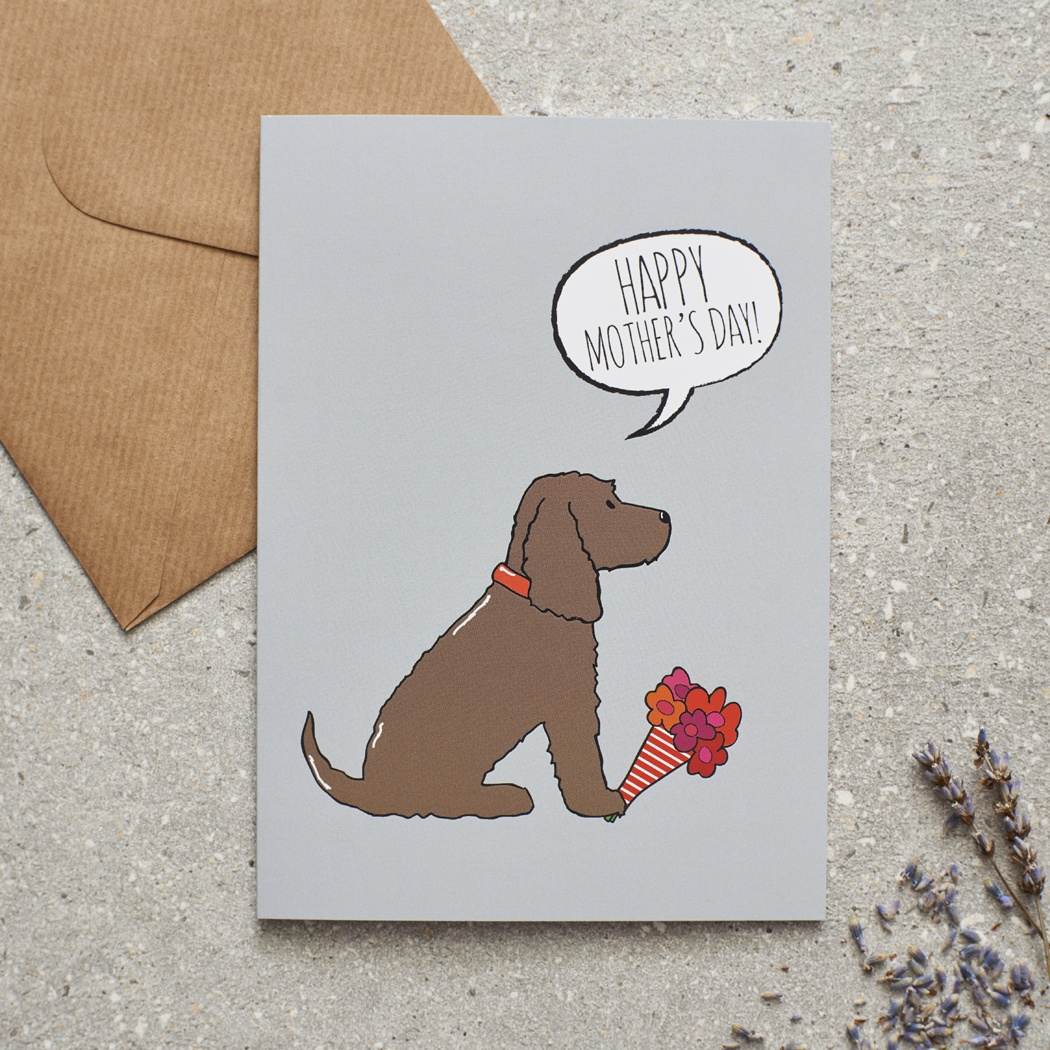 COCKER SPANIEL (chocolate) MOTHER'S DAY CARD , Mischievous Mutts > Greeting Cards , Cocker Spaniel