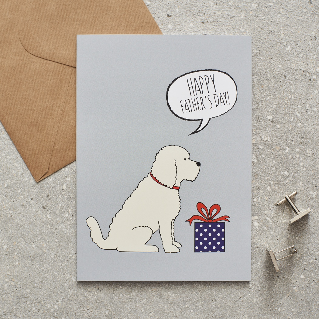 APRICOT COCKAPOO / LABRADOODLE FATHER'S DAY CARD , Mischievous Mutts > Greeting Cards , Cockapoo