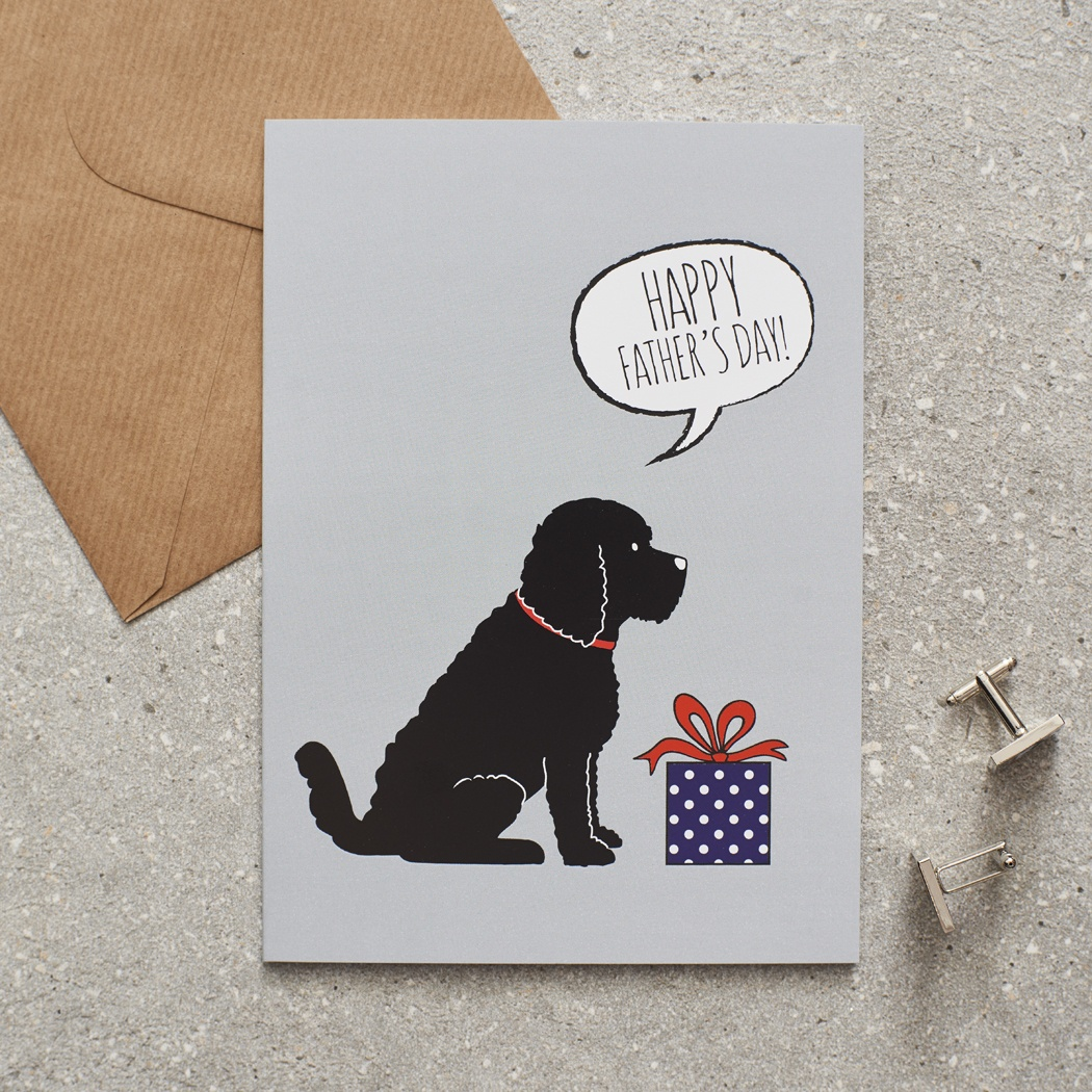 COCKAPOO / LABRADOODLE (black) FATHER'S DAY CARD , Mischievous Mutts > Greeting Cards , Cockapoo