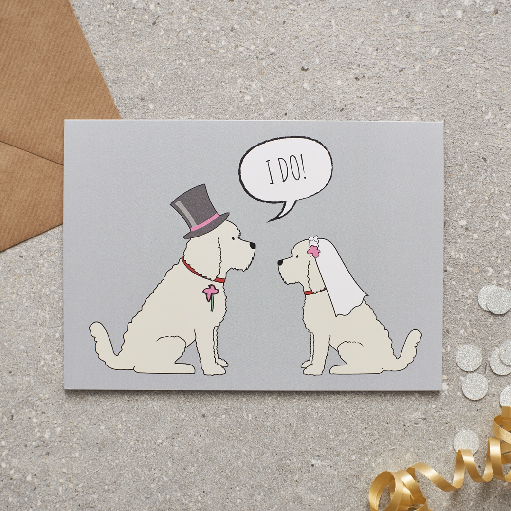 APRICOT COCKAPOO / LABRADOODLE WEDDING CARD , Mischievous Mutts > Greeting Cards , Cockapoo