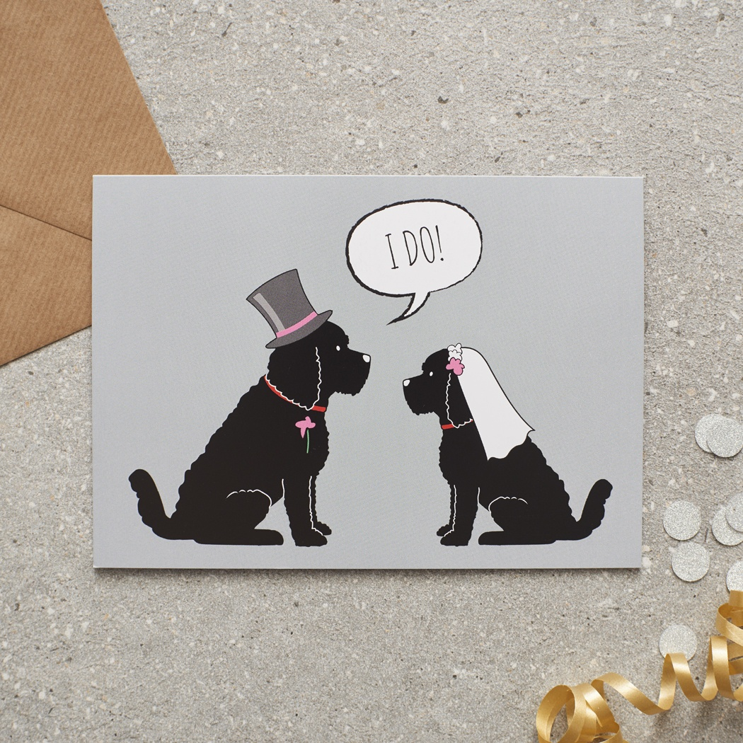 BLACK COCKAPOO / LABRADOODLE WEDDING CARD , Mischievous Mutts > Greeting Cards , Cockapoo