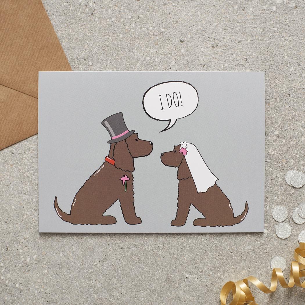 COCKER SPANIEL (chocolate) WEDDING CARD , Mischievous Mutts > Greeting Cards , Cocker Spaniel