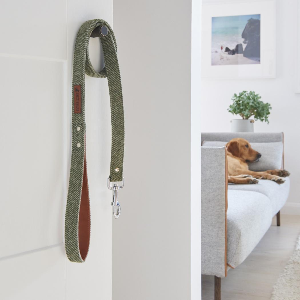Tweed dog lead - Green , Dog leads ,