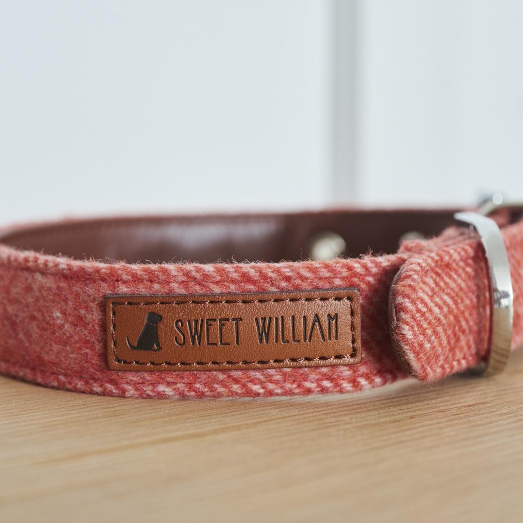Tweed dog collar - orange , dog collars ,
