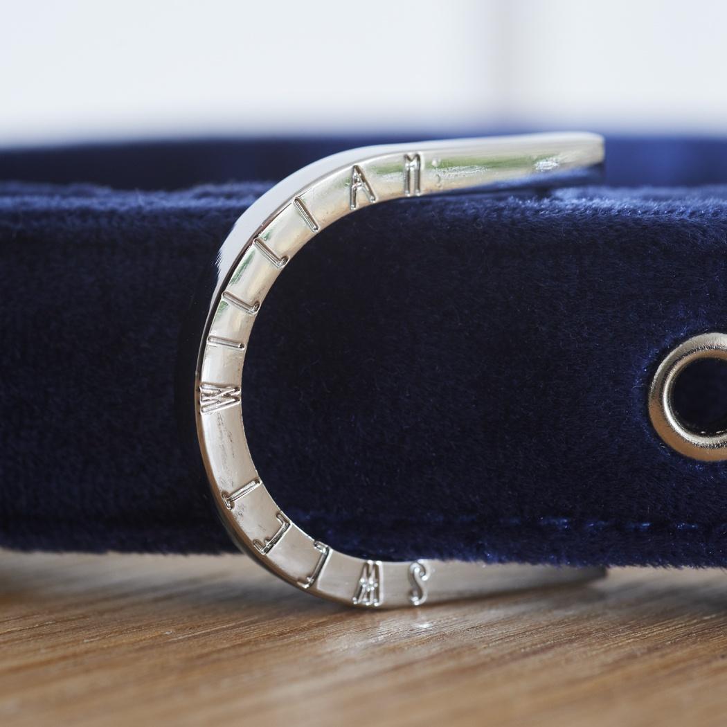 Velvet dog collar - Navy , dog collars ,