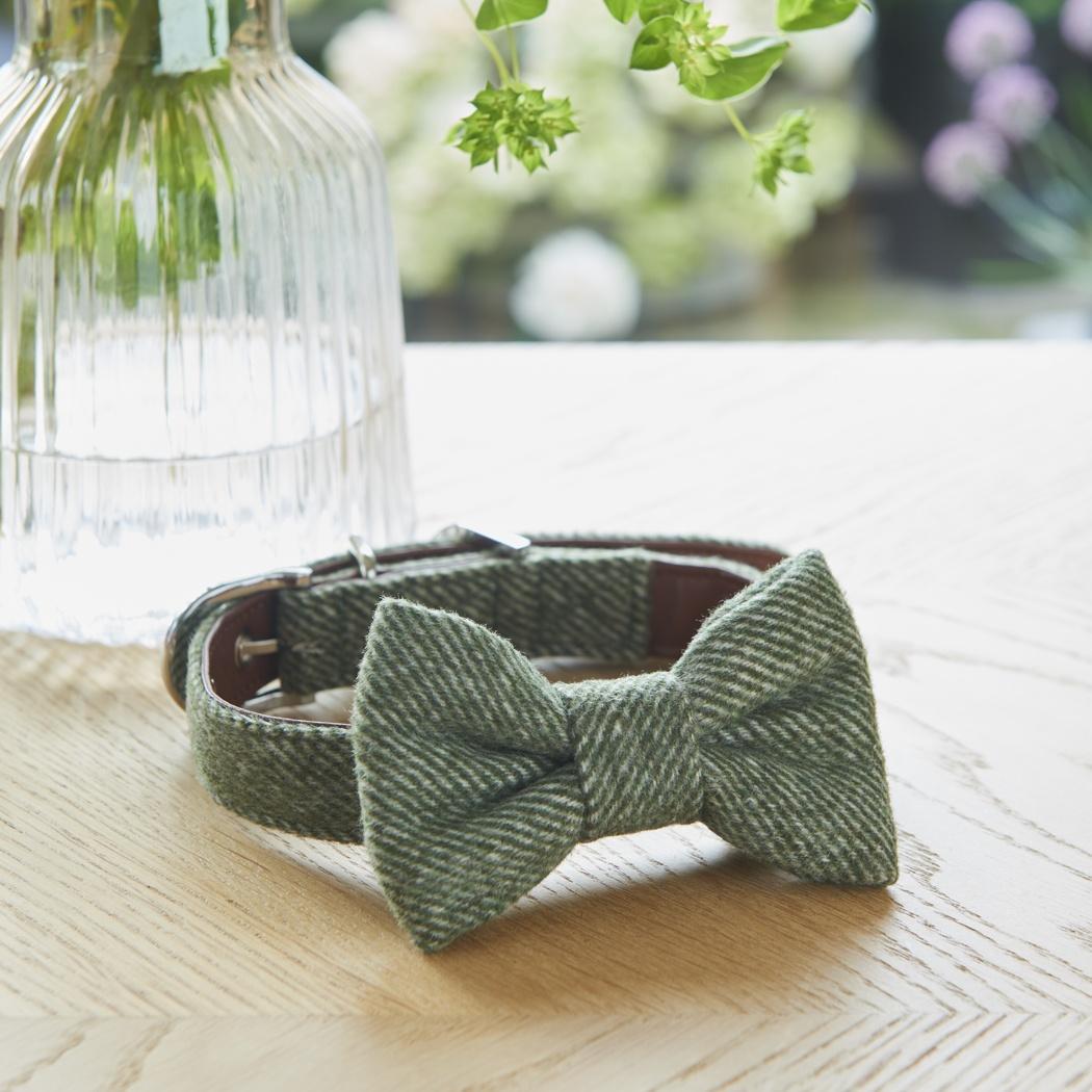 Tweed bow tie - green , Dog Bow Ties ,