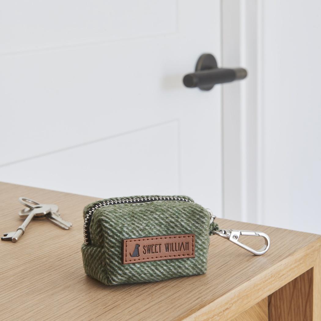 Tweed dog poo bag holder - green , Dog Poo Bag Holders ,