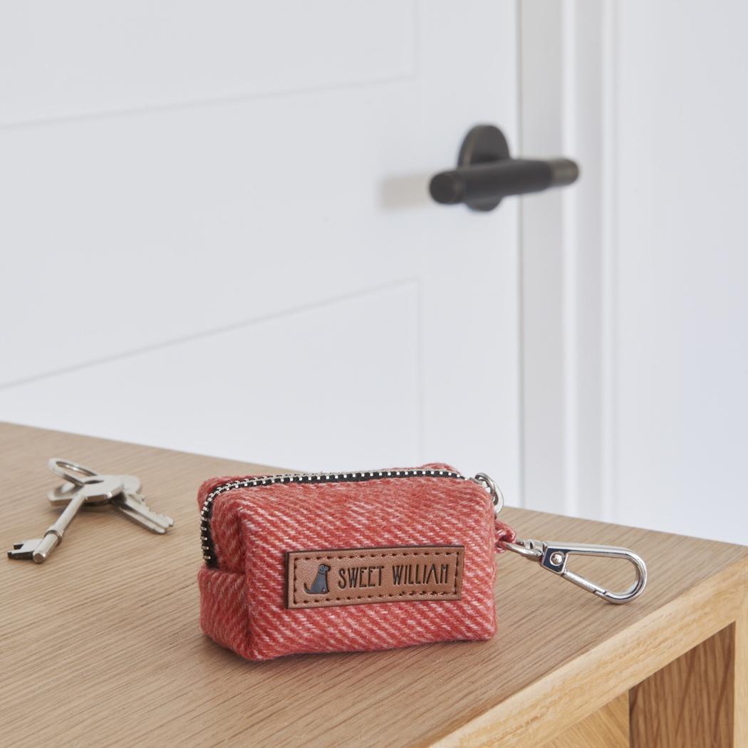 Tweed dog poo bag holder - orange , Dog Poo Bag Holders ,