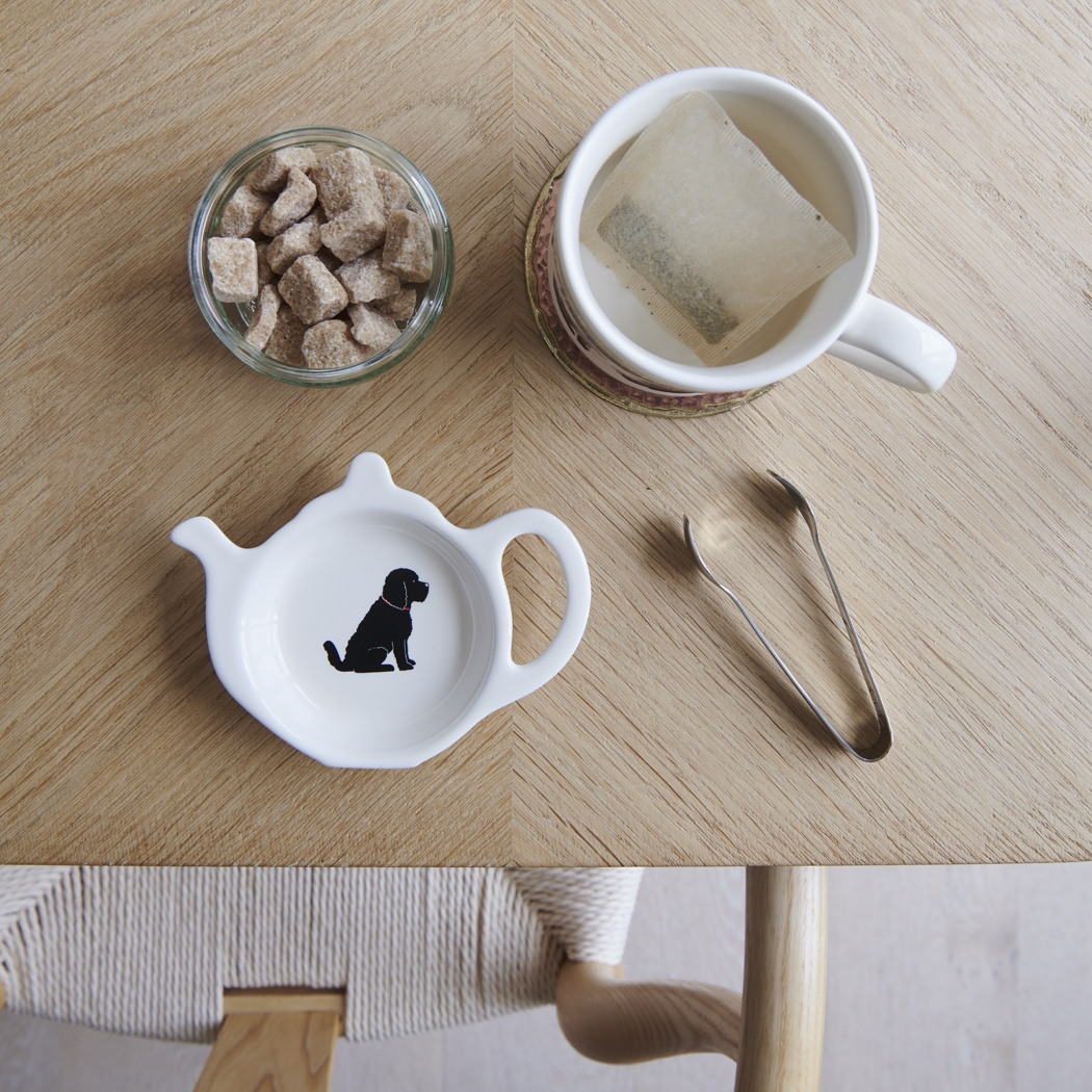 Cockapoo / Labradoodle (black) teabag dish , Mischievous Mutts > Teabag Dishes , Cockapoo