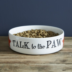 """Talk to the Paw"" cat bowl"