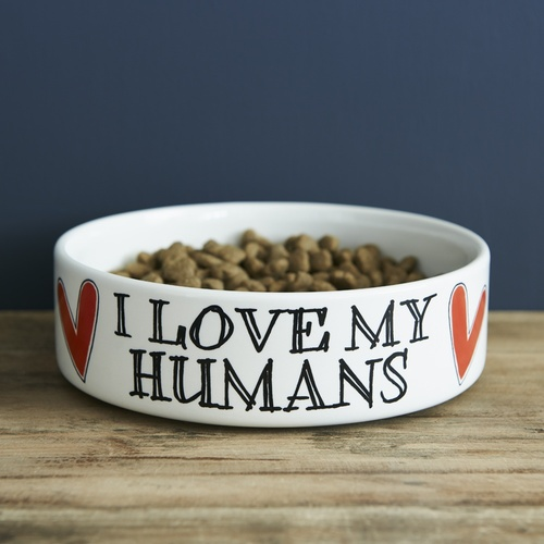 I love my humans cat bowl