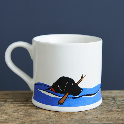 Swimming Black Labrador Mug