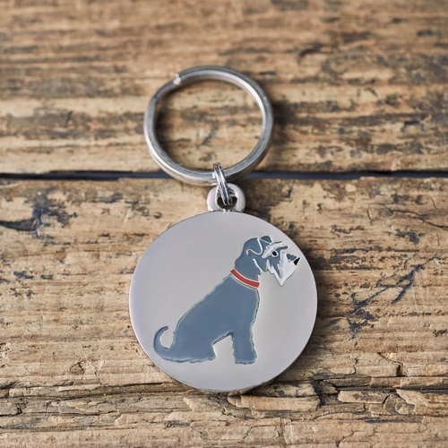 Grey Schnauzer Dog ID Name Tag