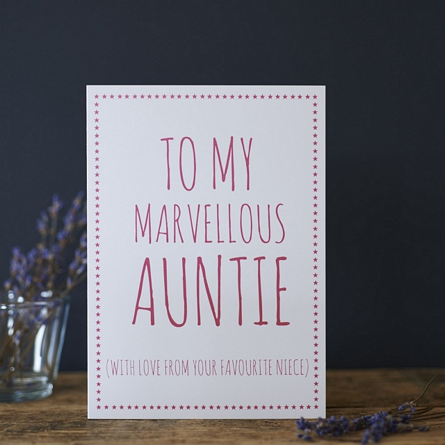 Marvellous Auntie love your favourite Niece / Nephew Card