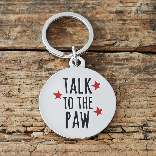 """Talk to the Paw"" Dog ID Tag"