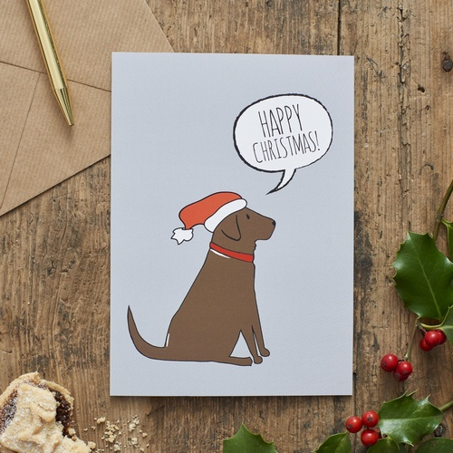 Chocolate Labrador Christmas Card