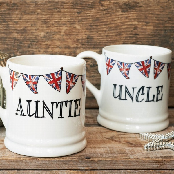 Auntie Mug and Uncle Mug with union jack bunting
