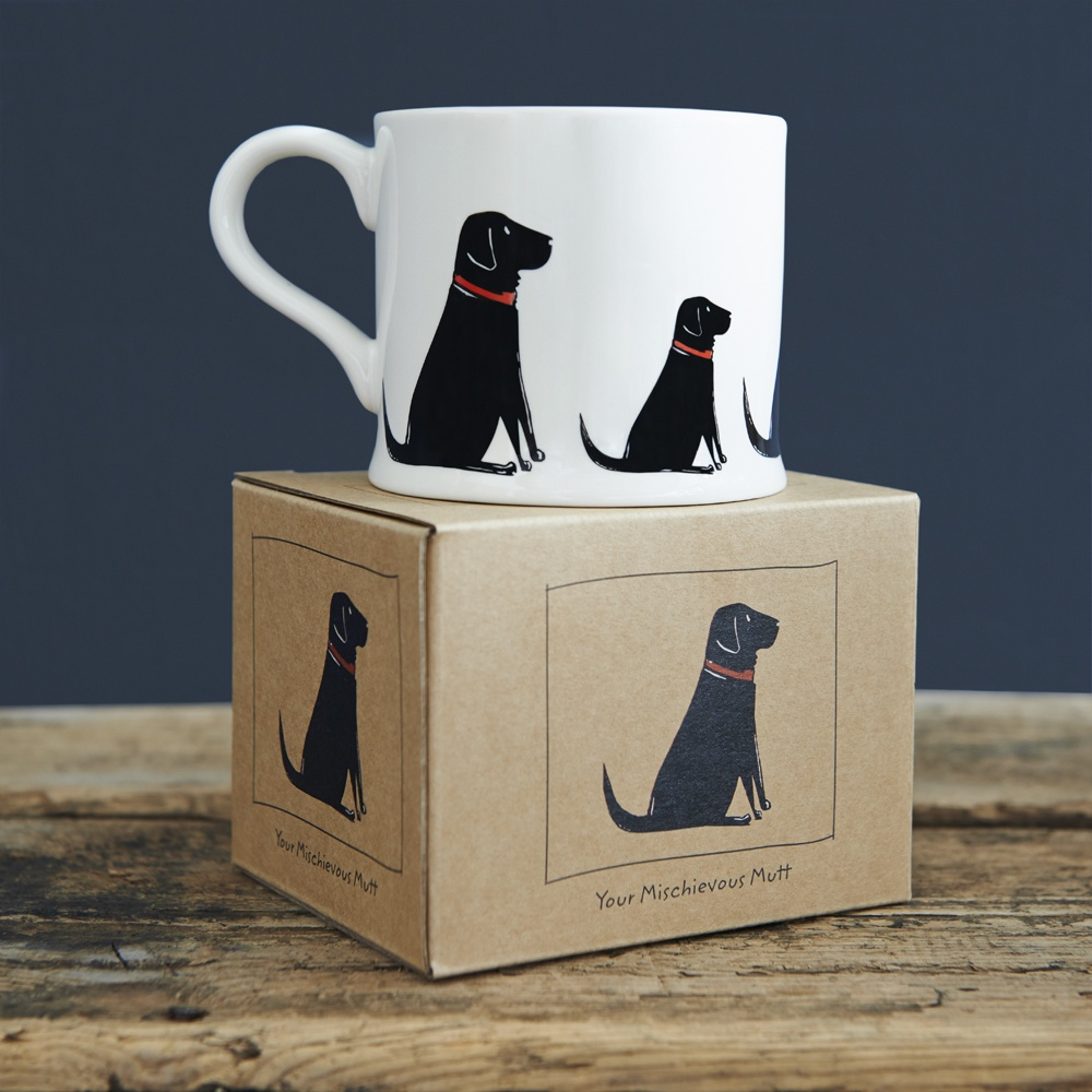 Black Labrador Lab mug and gift box