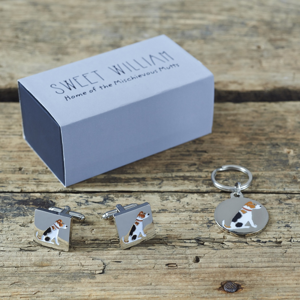 Jack Russell Cufflinks And Dog Tag Set With Single Gift Box