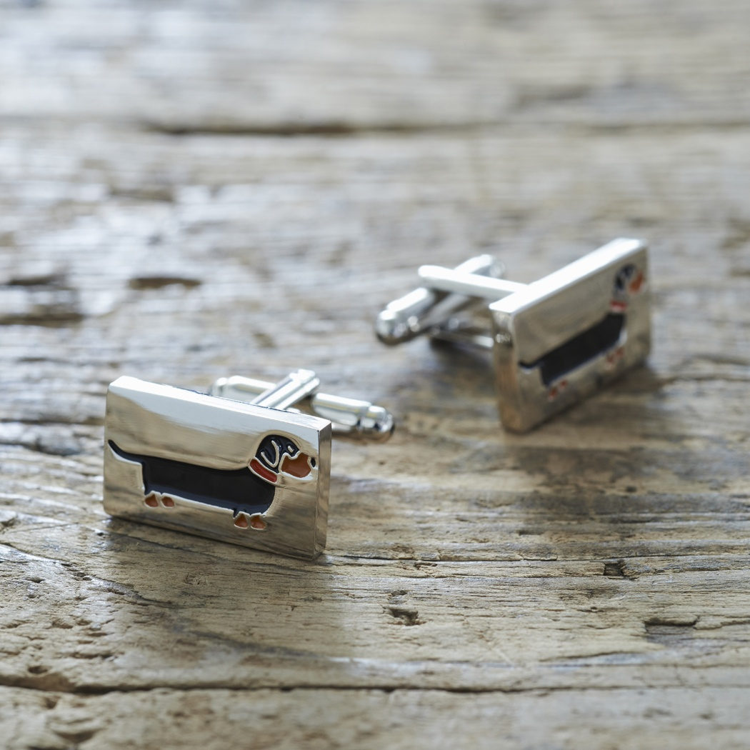 Dachshund Cufflinks and Tag gift set