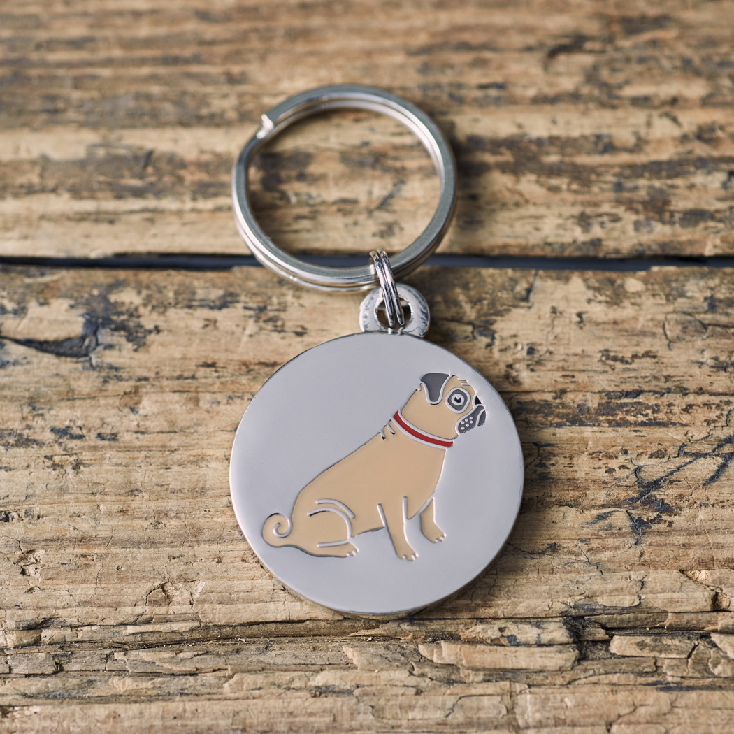 Pug Dog ID Name Tag