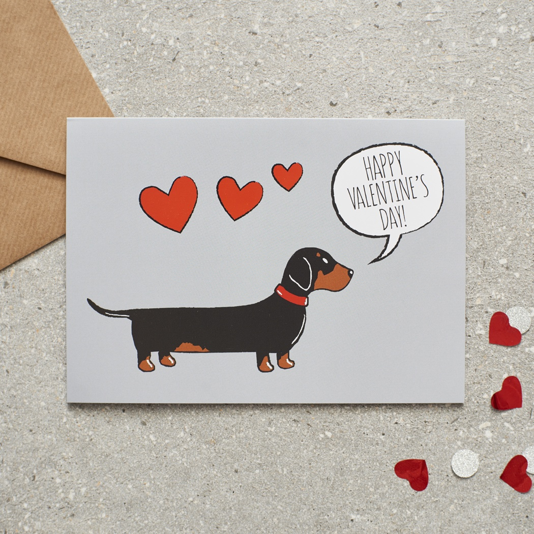 Dachshund Valentine's Day Card