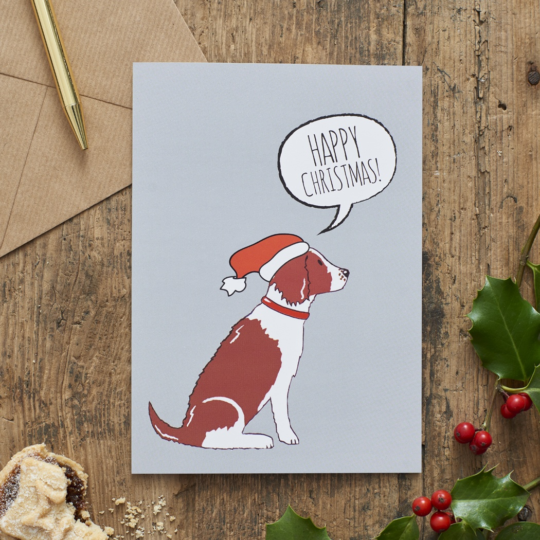 Springer Spaniel (Liver & White) Christmas Card