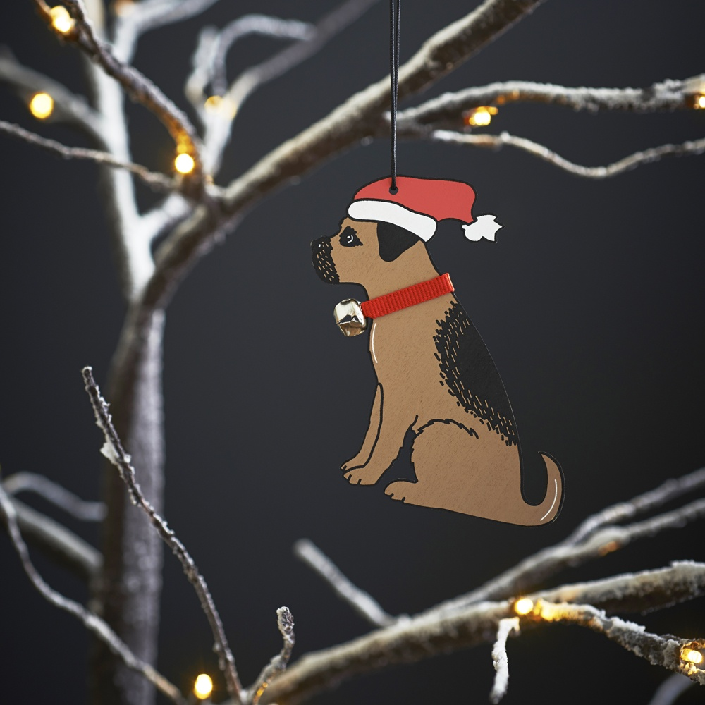Border Terrier Dog Christmas Tree Decoration / Ornament