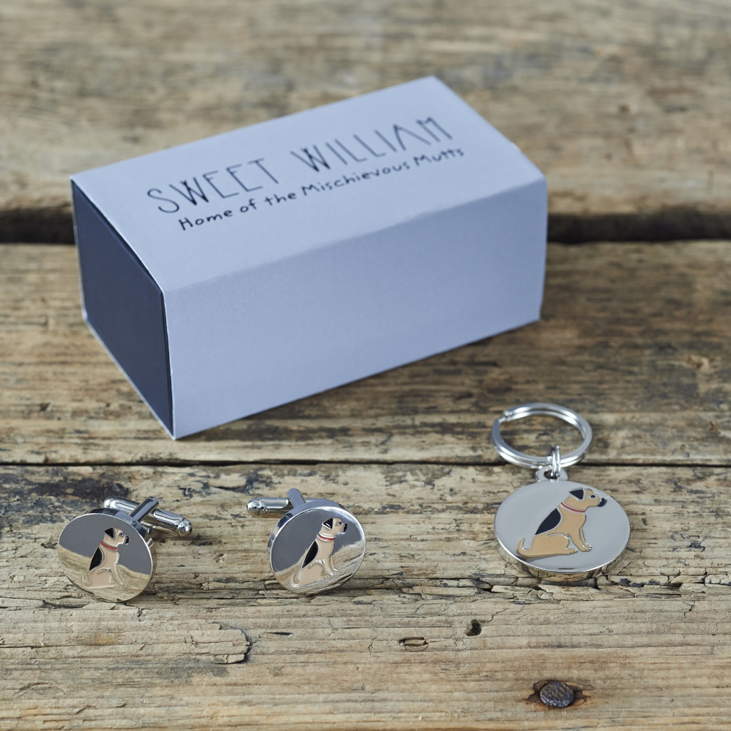 Border Terrier Cufflinks and Tag Set