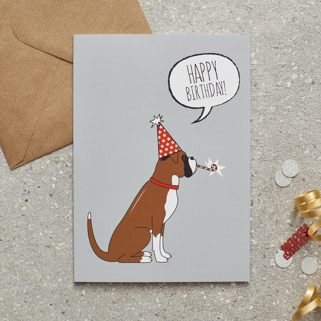 Boxer Birthday Card