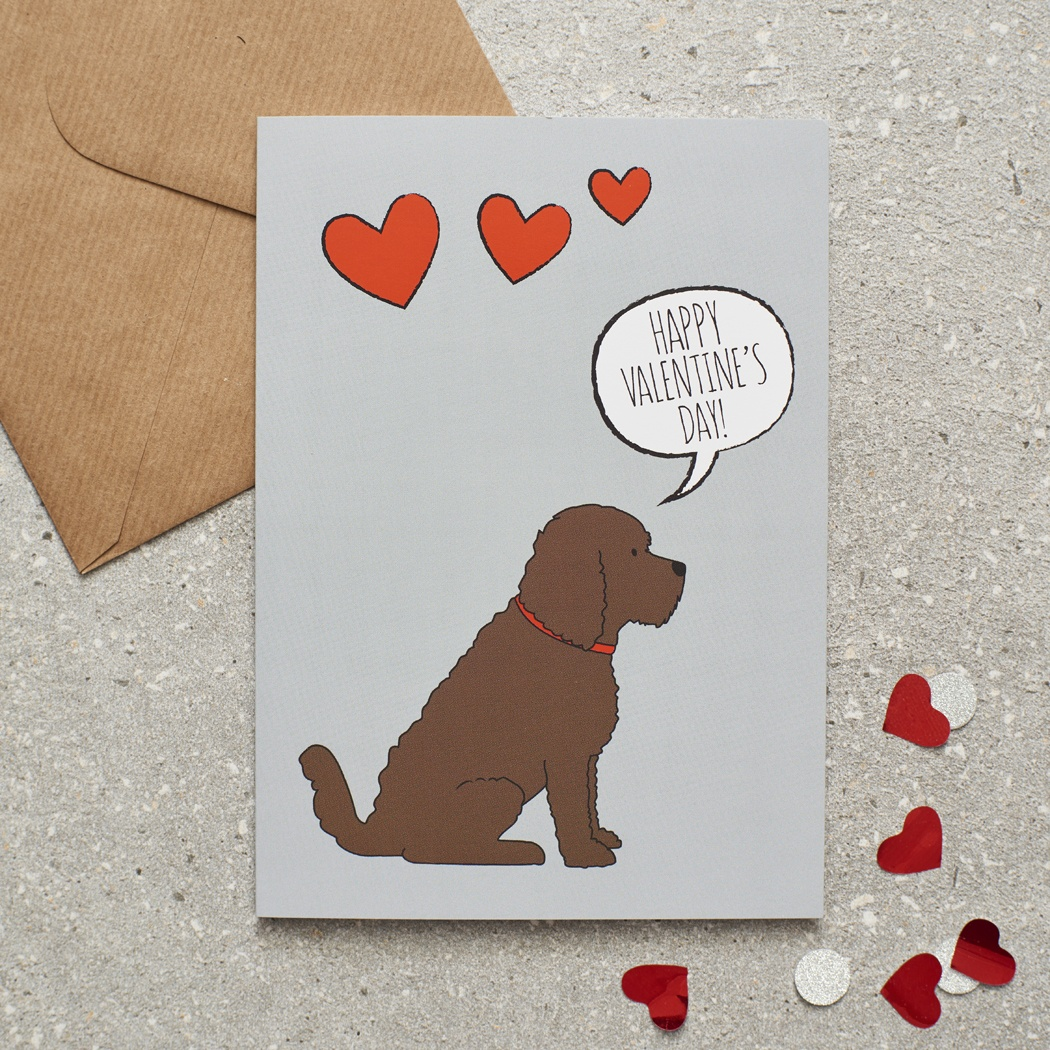 Chocolate Cockapoo / Labradoodle Valentine's Day Card