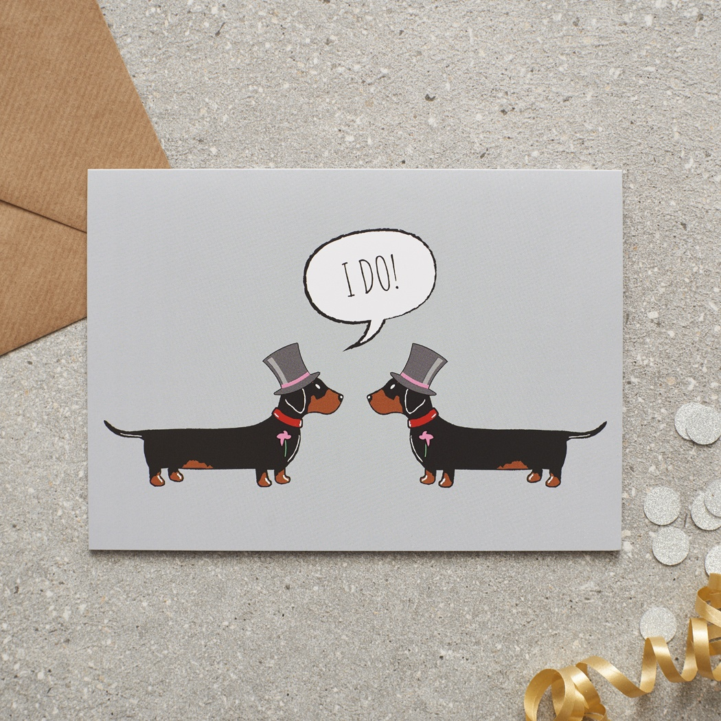 Dachshund Gay Wedding / Civil Partnership Card