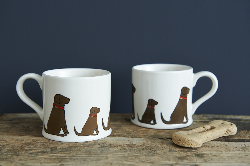 A pair of Chocolate Labrador Lab Mugs