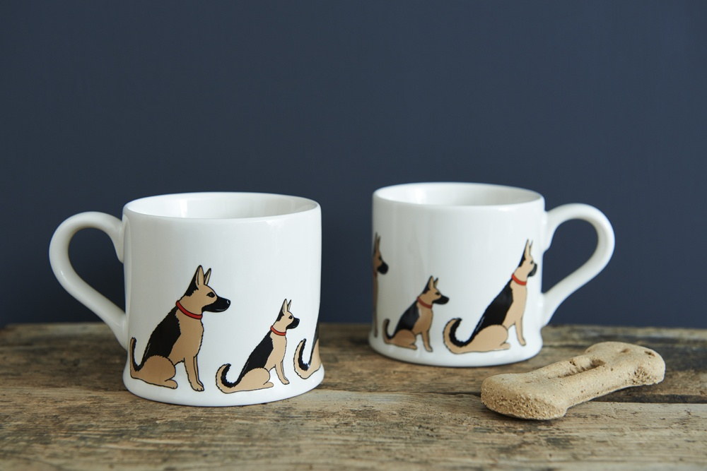 A pair of German Shepherd mugs