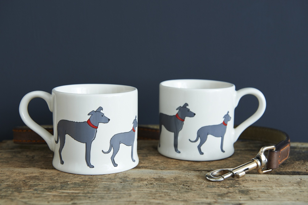 A pair of Lurcher mugs