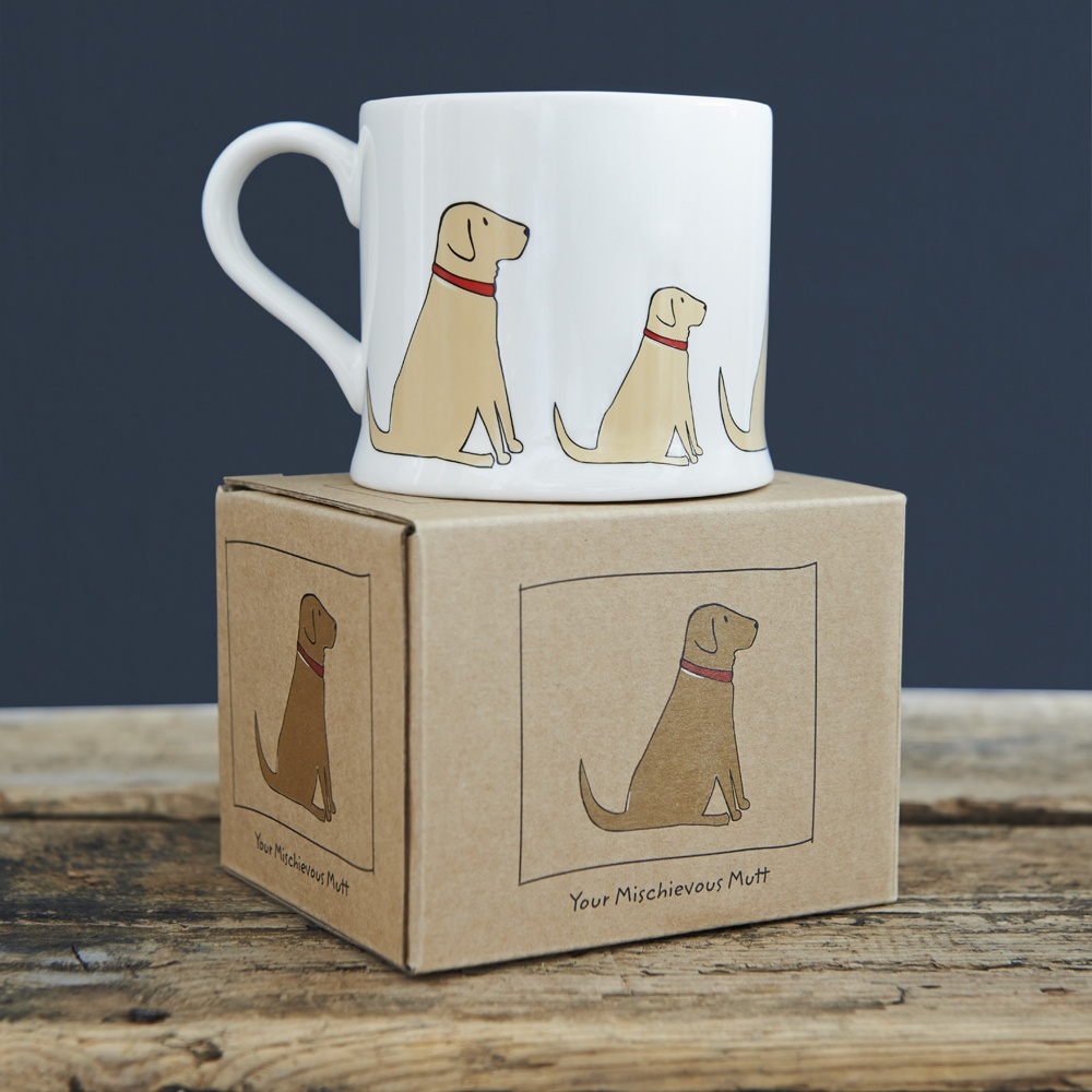 Yellow Labrador Lab mugs and gift box from Sweet William