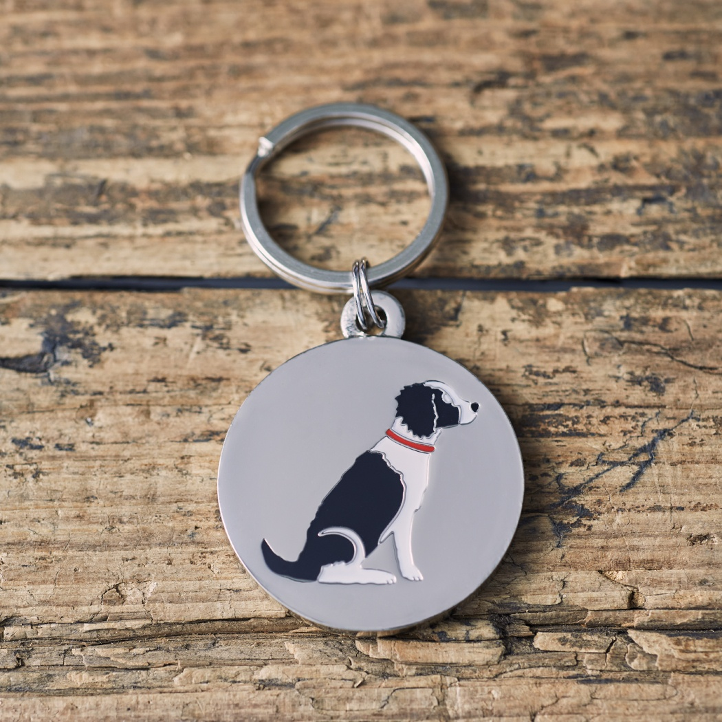 Springer Spaniel Black & White Dog ID Name Tag