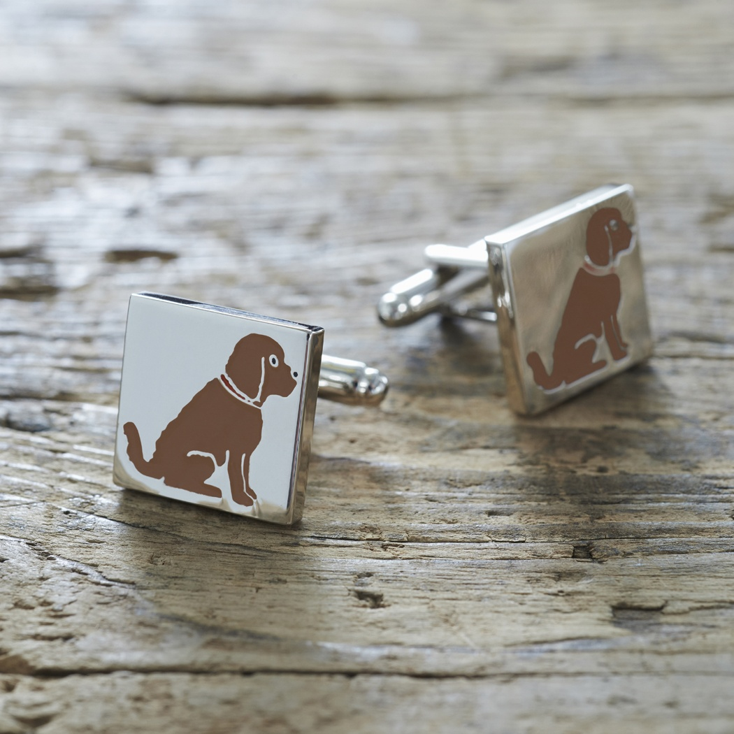 Cockapoo / Labradoodle (chocolate) Cufflinks and Dog Tag Set