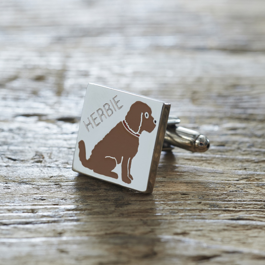 Cockapoo Cufflinks and Dog Tag Set