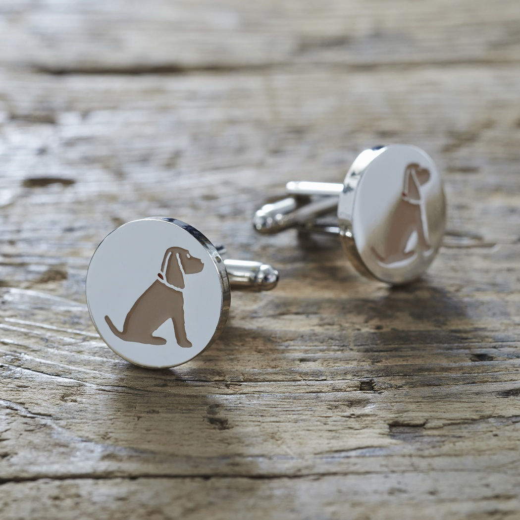 Golden Cocker Spaniel Cufflinks and Dog Tag Set