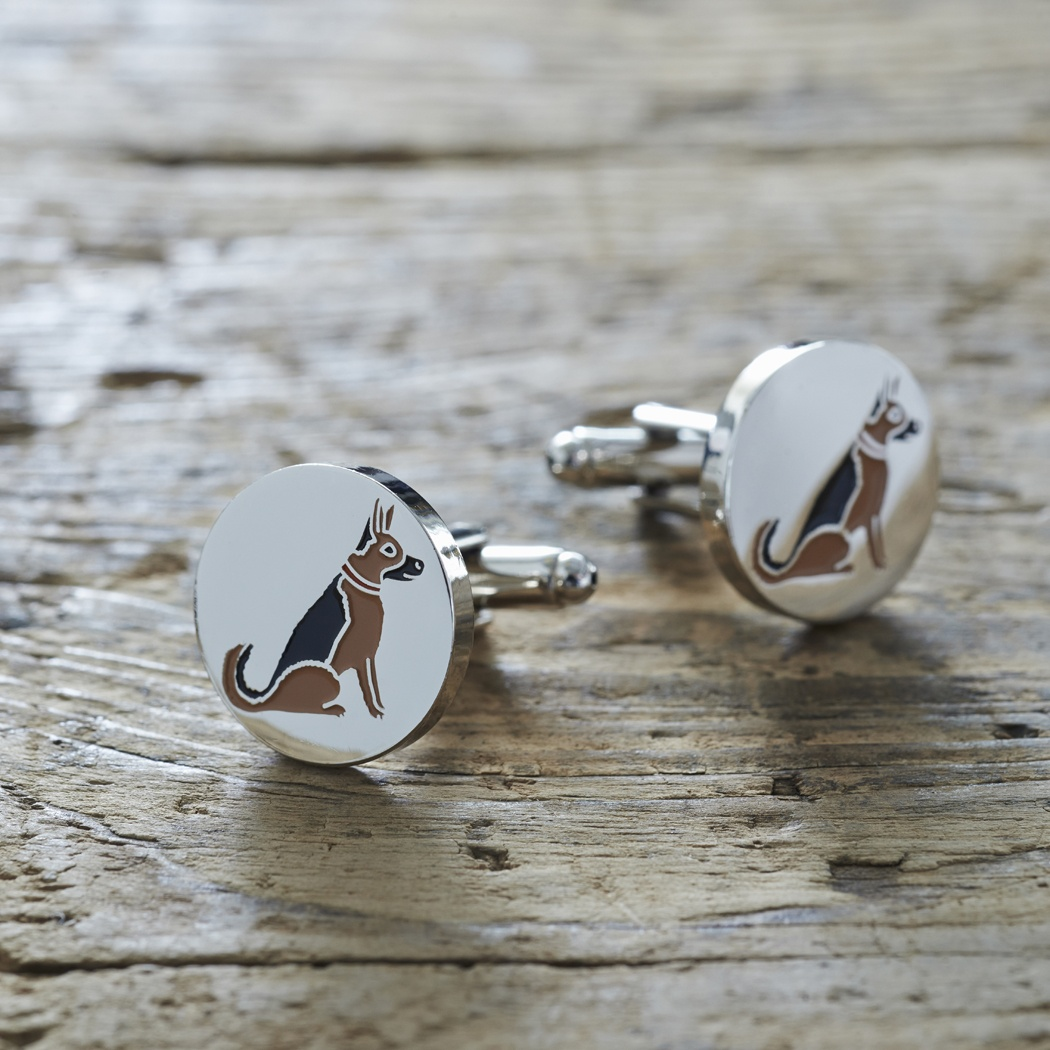 German Shepherd Cufflinks And Dog Tag Set