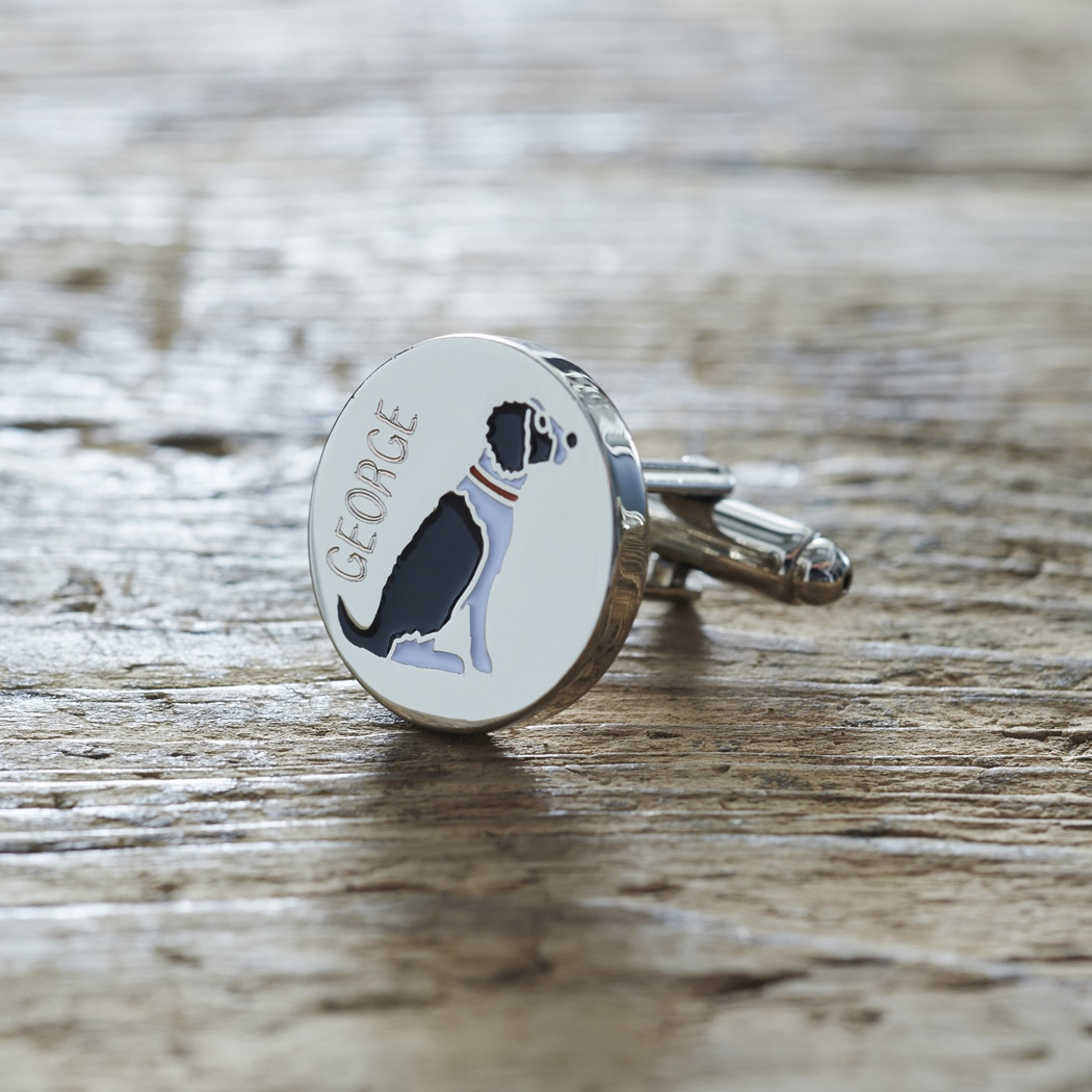 Springer Spaniel (Black & White) Cufflinks and Dog Tag Set